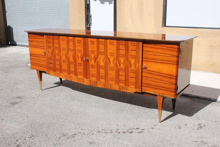 Long French Art Deco Exotic Macassar Ebony Buffet / Credenzas, 1940s For Sale 4