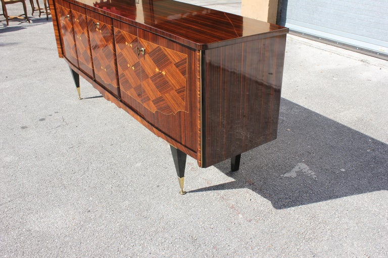 Long French Art Deco Macassar Ebony Mother-Of-Pearl Sideboard / Buffet / Bar . For Sale 13