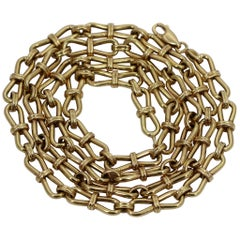 Long French Gold Link Necklace- Smaller in Scale and Lightweight