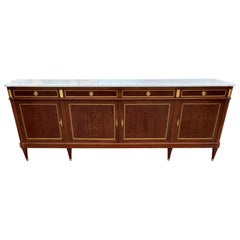 Long French Louis XVI Antique Mahogany Sideboard or Buffet, 1910s