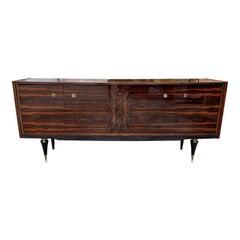 Long French Macassar Ebony Buffet / Sideboard / Credenza