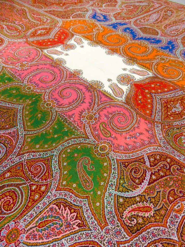 Long French Paisley Shawl With Polychrome Center Circa