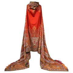 Long French Paisley Shawl with Vermilion Red Reserve Around 1855