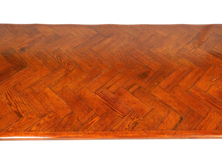 Long French Provincial Style Carved Pine and Parquetry Dining Table 20th Century In Good Condition For Sale In Ft. Lauderdale, FL