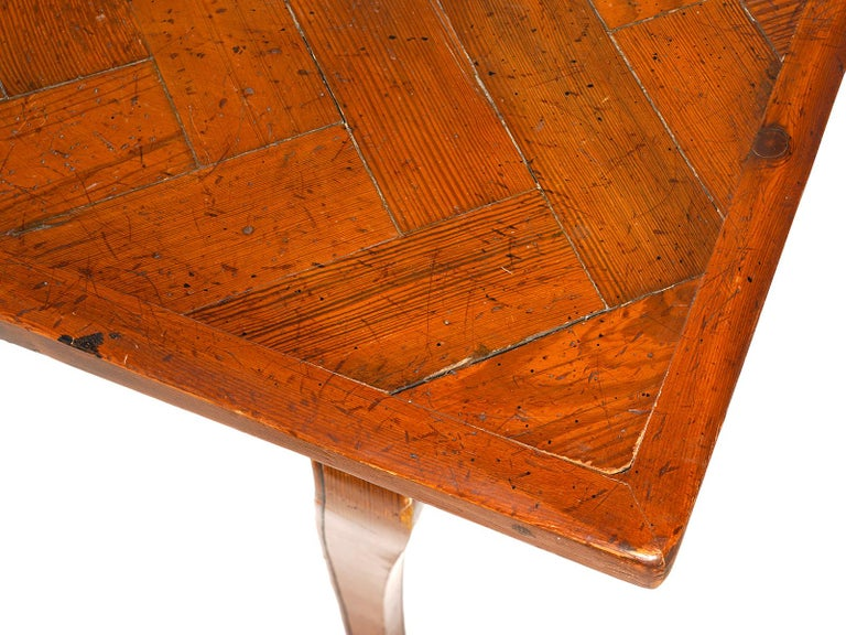 Long French Provincial Style Carved Pine and Parquetry Dining Table 20th Century For Sale 1