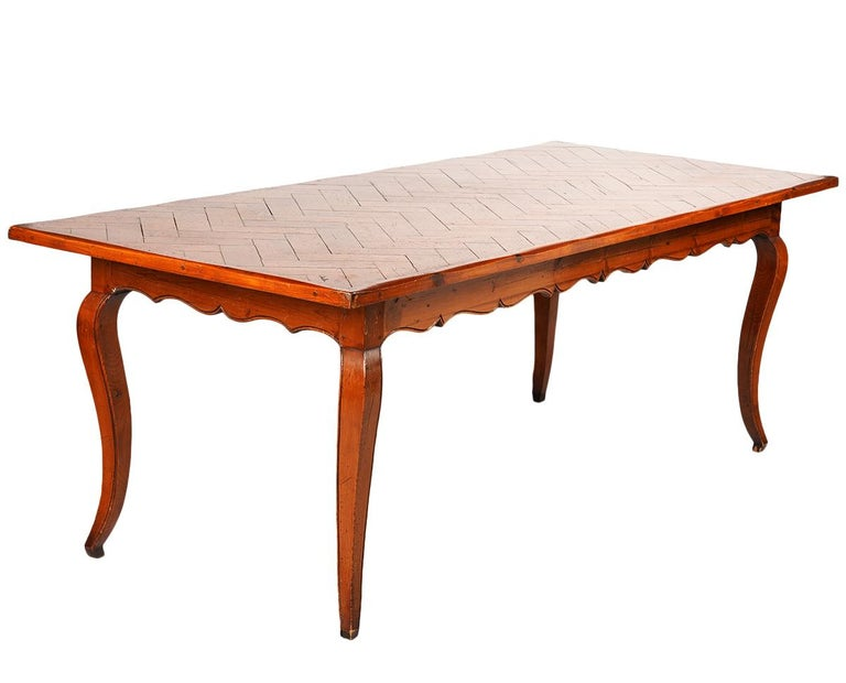 Long French Provincial Style Carved Pine and Parquetry Dining Table 20th Century For Sale 3