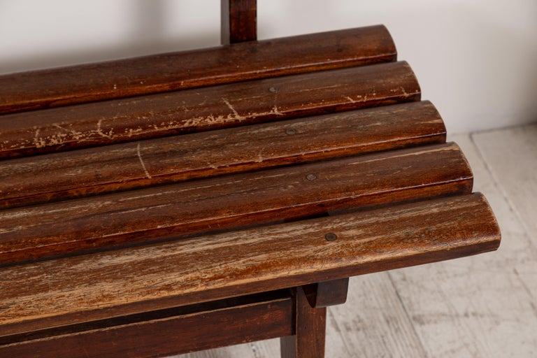 Long French Slatted Wooden Bench 6