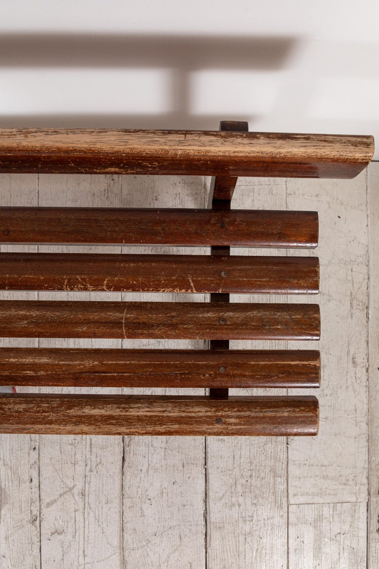 Long French Slatted Wooden Bench 7