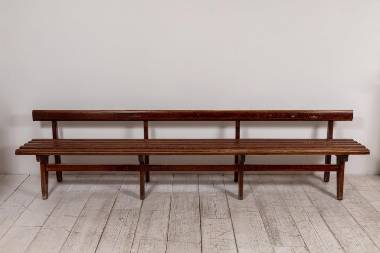 Long French Slatted Wooden Bench In Good Condition In Los Angeles, CA