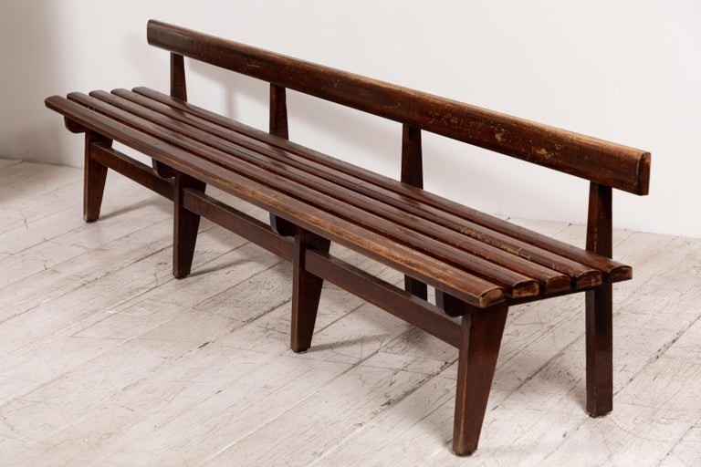 20th Century Long French Slatted Wooden Bench