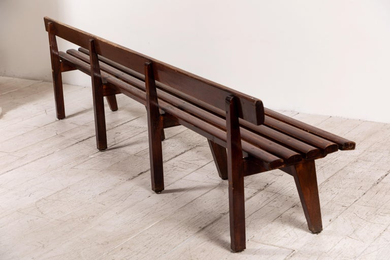 Long French Slatted Wooden Bench 1