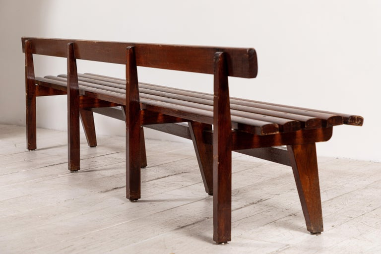 Long French Slatted Wooden Bench 2