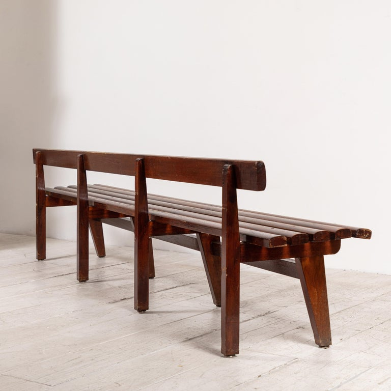 Long French Slatted Wooden Bench 3