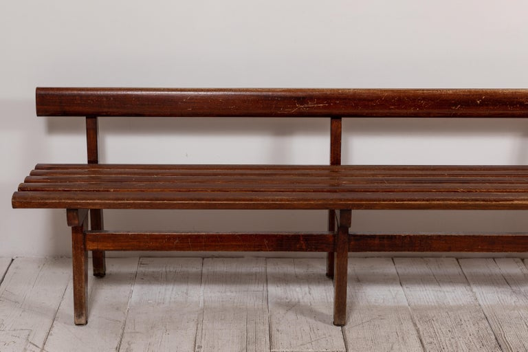 Long French Slatted Wooden Bench 4