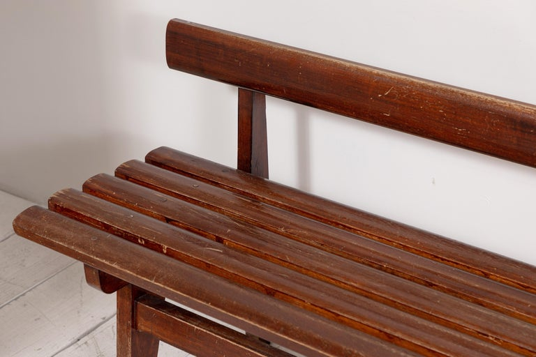 Long French Slatted Wooden Bench 5