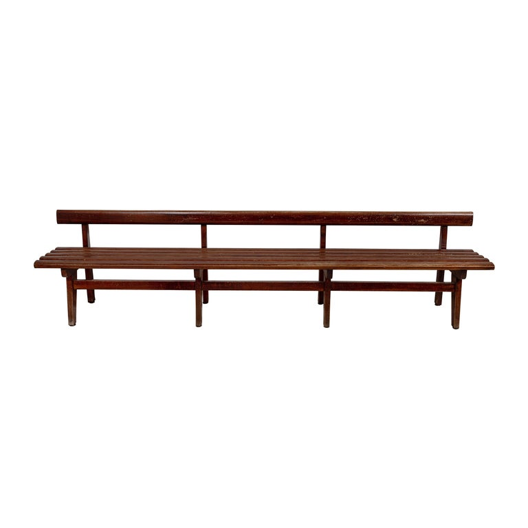 Long French Slatted Wooden Bench