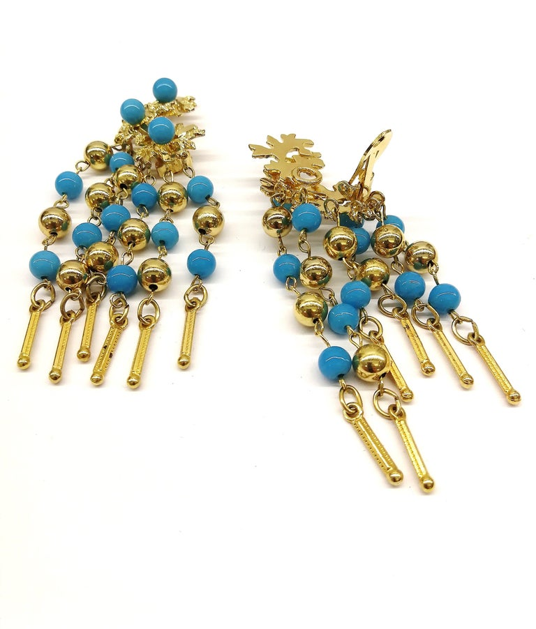 Long gilt metal and turquoise glass bead fringed earrings, Christian Dior, 1968 For Sale 1