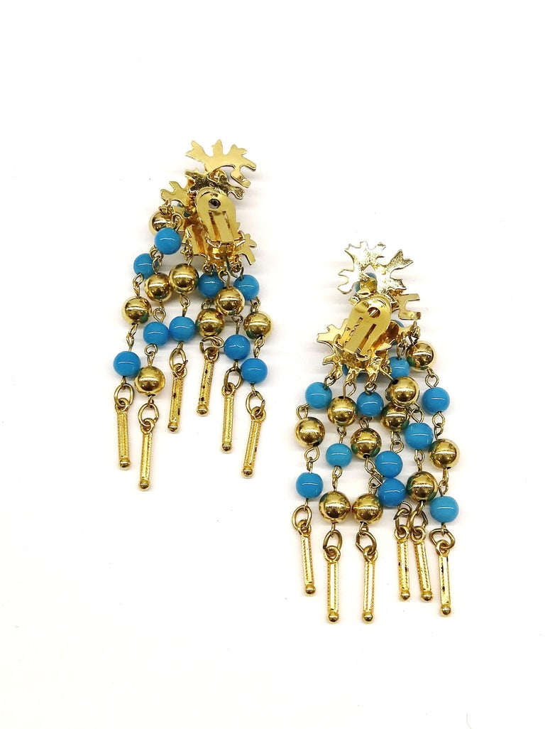 Long gilt metal and turquoise glass bead fringed earrings, Christian Dior, 1968 For Sale 2