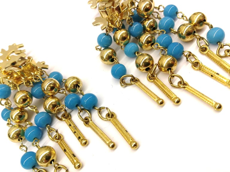 Long gilt metal and turquoise glass bead fringed earrings, Christian Dior, 1968 For Sale 4