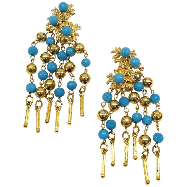 Long gilt metal and turquoise glass bead fringed earrings, Christian Dior, 1968 For Sale