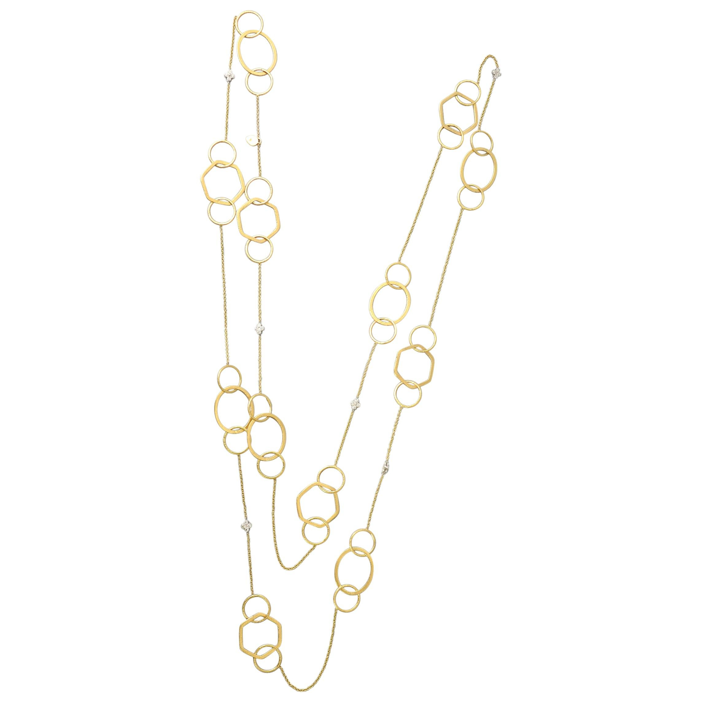 Long Gold and Diamond Chain Necklace