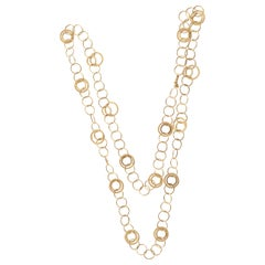 Long Gold Circles Necklace