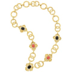 Long Gold, Coral, Black Onyx and Diamond Necklace, R. Stone