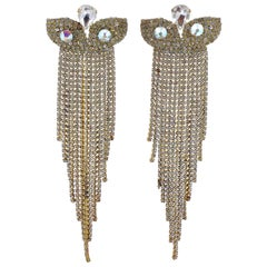 Long Gold Plated Clear and Aurora Borealis Rhinestones Chandelier Earrings 1950s