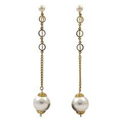 Long Gold Plated Faux White Pearl Screw Back Dangle Earrings