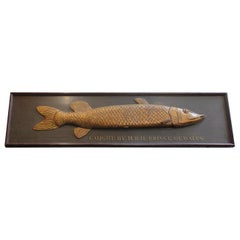 Long Hand-Carved Fish Wood Sign