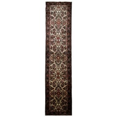 Long Handmade Carpet Runner Vintage Indian Rug Runner Floral Wool Stair Runner