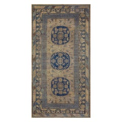Long Handwoven Wool Mid 19th Century Khotan Rug