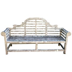 Long Heavily-Lichened, Silvered English Lutyens-Style Bench in Teak