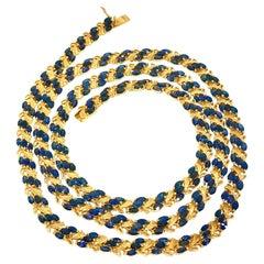 Long High Karat Gold Sapphire Necklace
