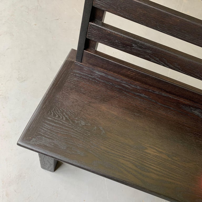 Long Industrial Ebonized Oak Train Station Bench For Sale 5