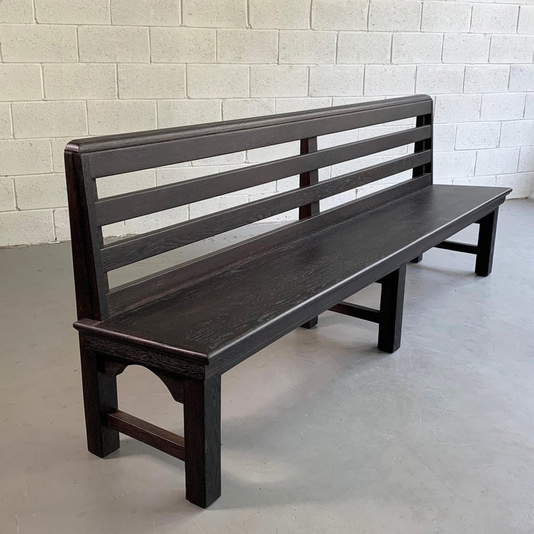American Long Industrial Ebonized Oak Train Station Bench For Sale