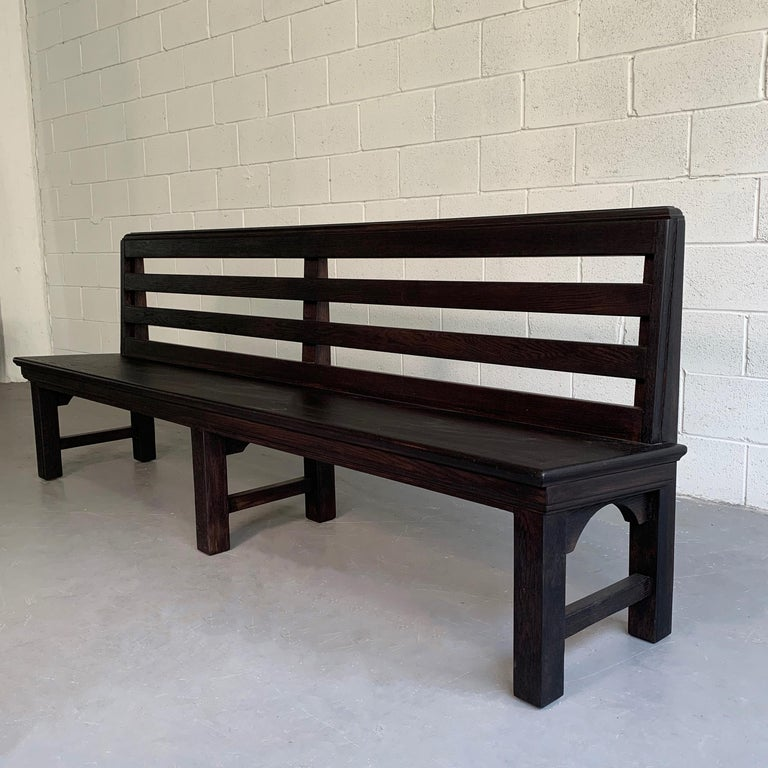Long Industrial Ebonized Oak Train Station Bench In Good Condition For Sale In Brooklyn, NY