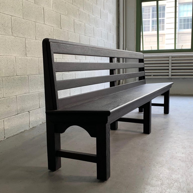 20th Century Long Industrial Ebonized Oak Train Station Bench For Sale
