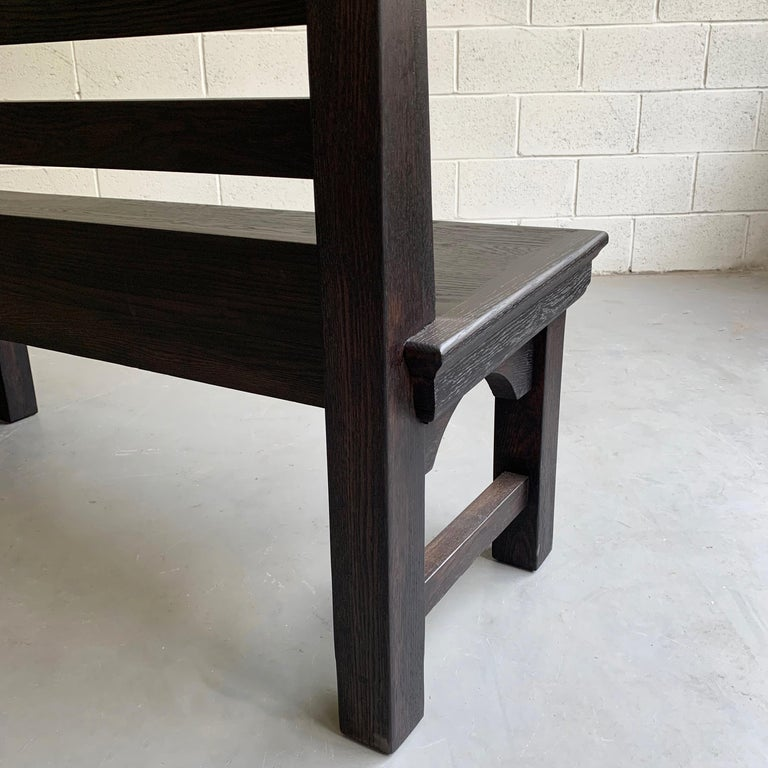 Long Industrial Ebonized Oak Train Station Bench For Sale 2