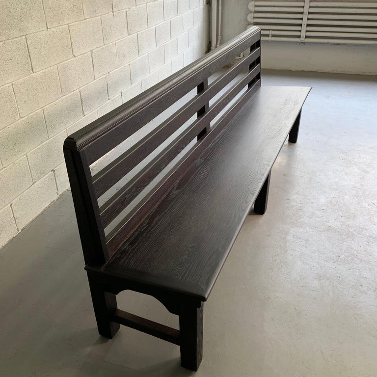 Long Industrial Ebonized Oak Train Station Bench For Sale 3