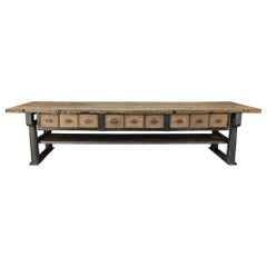 Long Industrial Work Console Table in Cast Iron with 9 Drawers Franc, circa 1900