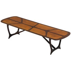Long Italian Marquetry Coffee Table in Walnut and Rosewood