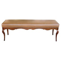 Long Italian Rococo Style Bench with Leather Upholstery
