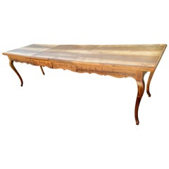 Long Italian Vintage Farmhouse Dining Table With Two Leaves