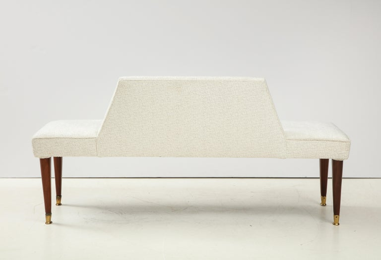 Long Ivory Boucle Bench or Banquette with Half Back, Italy, 1960s For Sale 2
