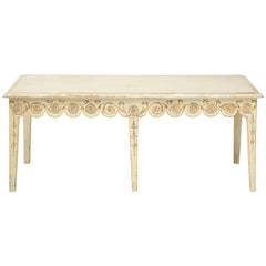 Long Ivory-Painted Hall Bench