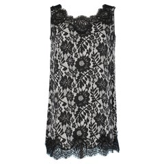 Long jersey top in printed lace and black lace Dolce & Gabbana