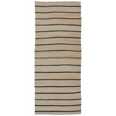 Long Kilim Flat-Weave Wide Runner with Neutral Background and Stripe Design