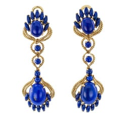 Long Lapis Lazuli Gold Pendent Earrings