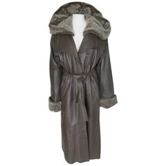 Long Leather Trench Coat with Detachable Faux Fur Hood